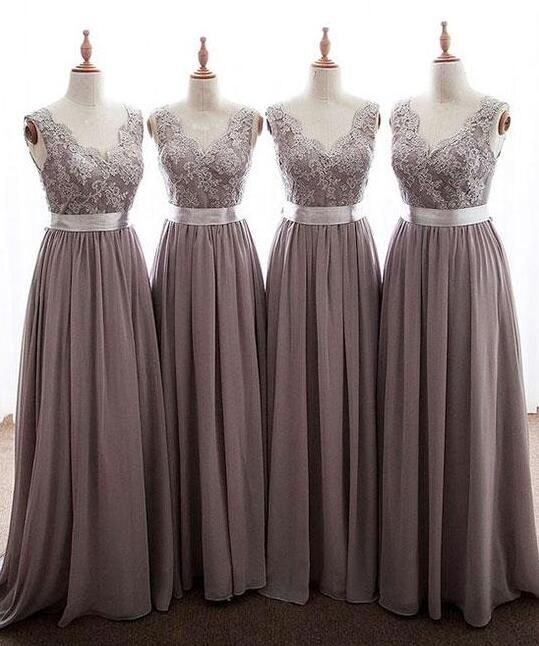 Grey Long Bridesmaid Dress, Chiffon Bridesmaid Dress, Cheap