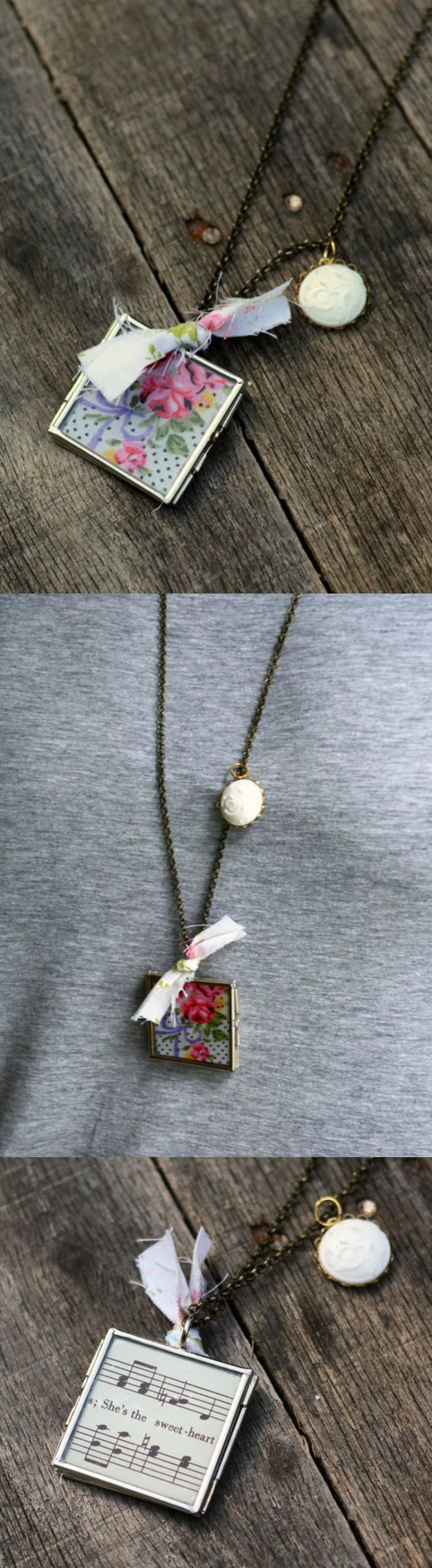 This pretty locket was embellished with a vintage hanky and some sheet music - it makes the perfect personalized gift!