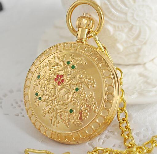 Antique Retro Flower Patterns Background Roman Numerals Steampunk Mechanical Pocket Watch Full Hunter Relogio De Bolso PJX1017