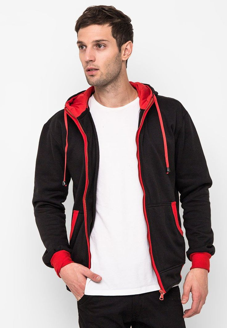 Andrea Zipper Hoodie Jacket by Tolliver in red seam. http://www.zocko.com/z/JHh4B
