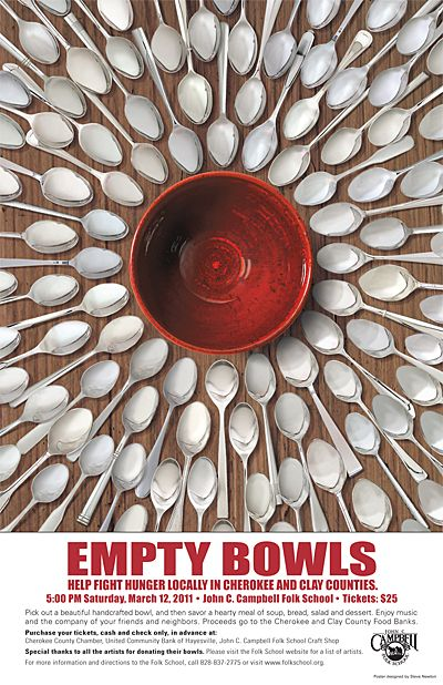 Empty Bowls (On a personal note: I love taking classes at the John C. Campbell Folk School and have heard of this fundraising idea before. One idea is to have children make pinch pots at school in art class and each participant gets to eat soup from and keep a pot/bowl with proceeds helping hungry children.) Great awareness fundraiser!