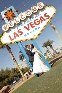 vegas weddings ceremony and strip tour with lv sign chapel of the flowers