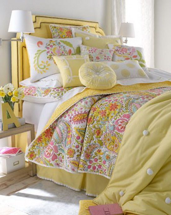Jess is going to college soon, so I'll have a bedroom to play with. Pink and yellow, sounds so cheery.