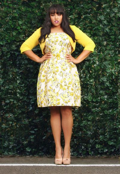 Adorable plus size outfit in yellow with a cute jacket.
