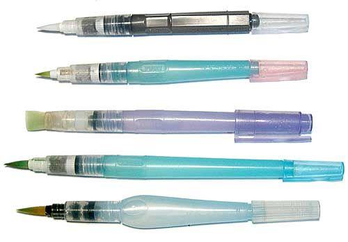 Waterbrushes...fabulous. They hold water in the handle so a pot of water isn't needed. Always ready to paint. Toss in bag & take with you, I use the Pentel Aquash...lt's easier to squeeze. Love it!