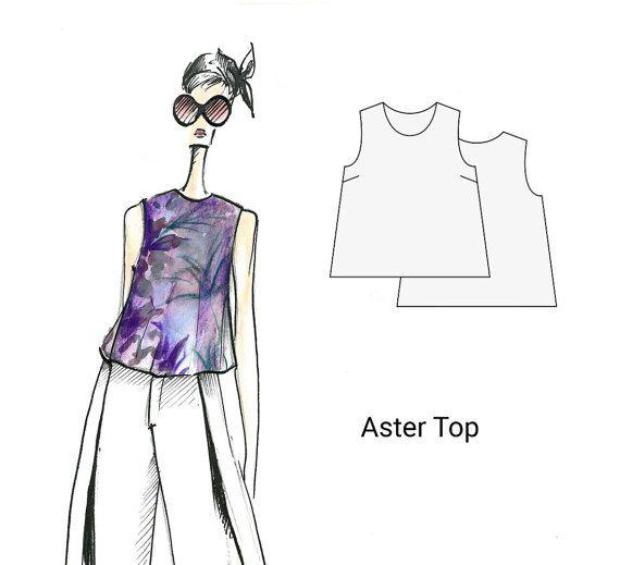 Aster top, sizes 8-16, women's sewing pattern, PDF sewing pattern, sewing pattern, patterns, digital patterns, blouse sewing pattern, sewing