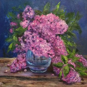 """Lilac in a blue vase"" by Alena Rumak"