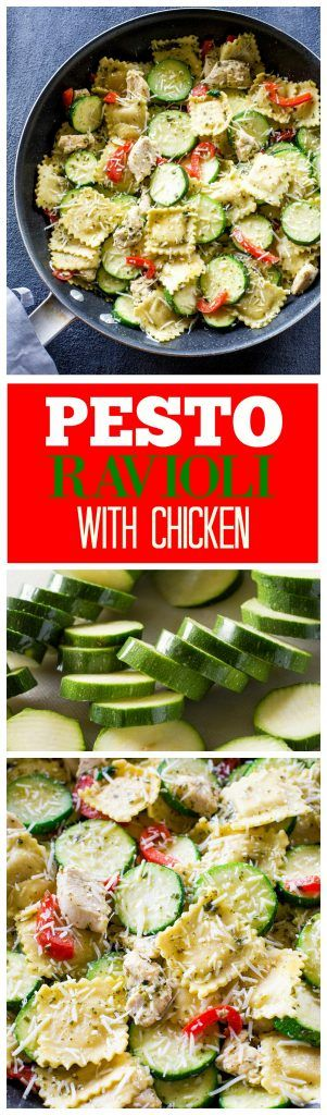 Pesto Ravioli with Chicken - a one-pan dinner ready in less than 25 minutes. Packed with flavor! the-girl-who-ate-everything.com