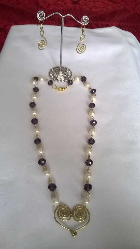 Handmade wire and bead necklace and earring set