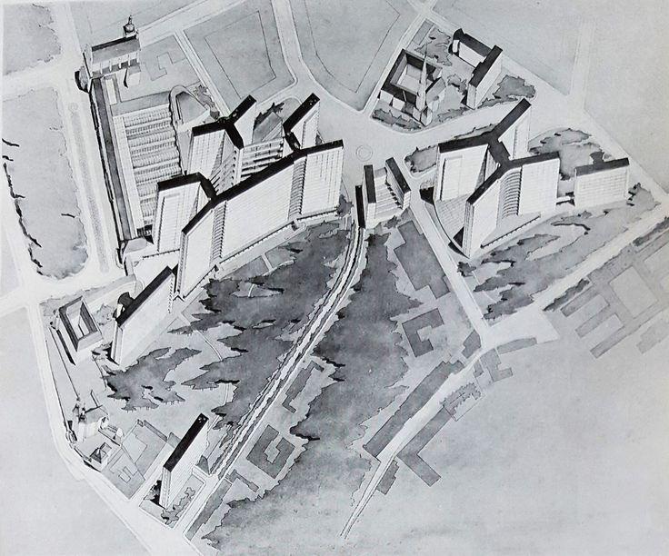 The 1937 scheme to expand Prague General Hospital near its original location. This American-type skyscraper hospital was proposed by architects Uklein and Havlicek. Source: Havlíček, J. and Uklein, V., Pražské fakultní nemocnice (Praha: 1937), p. 11