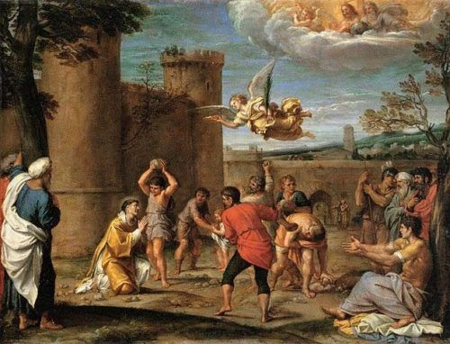 """Feast of St. Stephen, First Martyr - They threw him out of the city, and began to stone him.  The witnesses laid down their cloaks at the feet of a young man named Saul.   As they were stoning Stephen, he called out, """"Lord Jesus, receive my spirit.""""  Acts 7:58-59  What a shocking contrast!  Continue: https://catholic-daily-reflections.com/2017/12/25/feast-of-st-stephen-first-martyr/#more-384"""