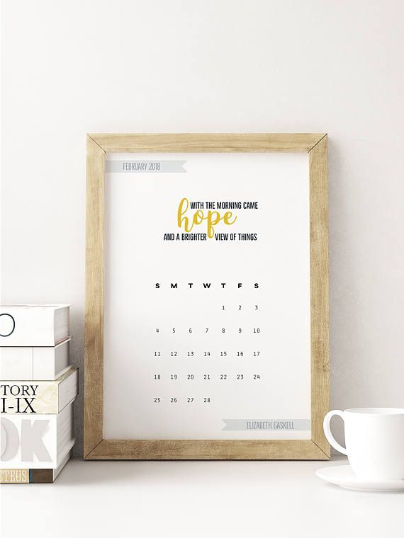 This literary quotes printable calendar is perfect as a desk calendar, to stick in your journal or hang on the wall. Print it at home or at a printer to get a professional looking stylish calendar without spending too much. The calendar features 12 great quotes from classic literature.
