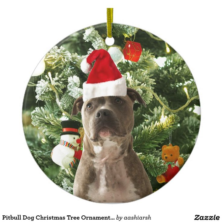 Pitbull Dog Christmas Tree Ornaments Snowman