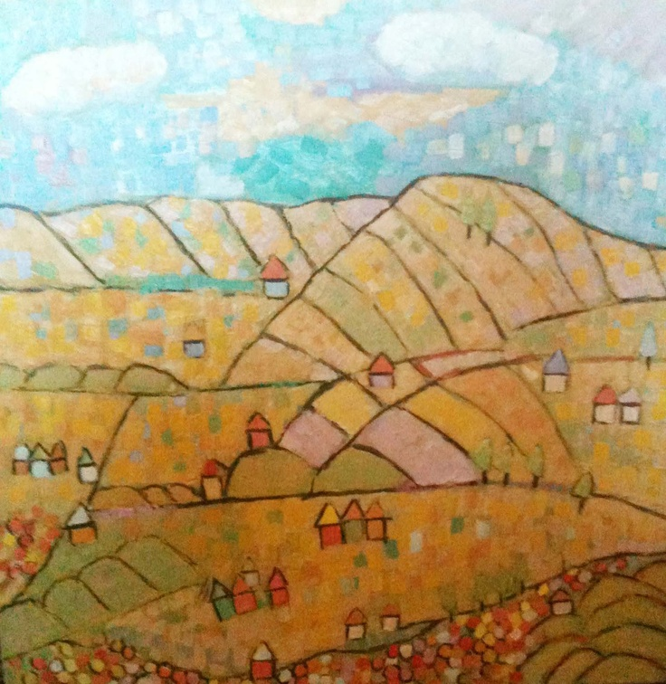 New Hills by Laura Hains. #painting #landscape #clouds #hills #DEAF2012