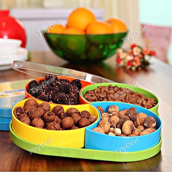 Stylish Fruit Nuts Plate Tray Snacks Chocolate Candy Plate Box Case Holder Storage Tray Set HHI-264961