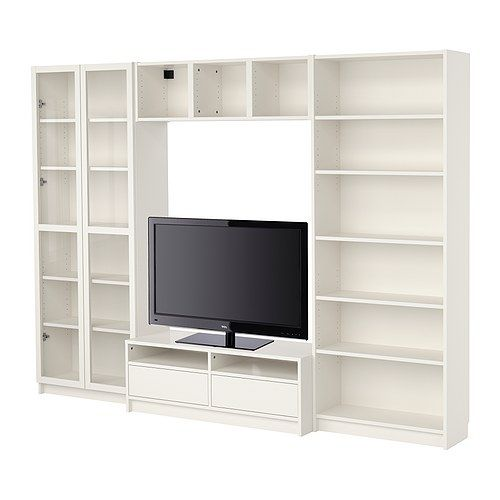 BILLY shelf systems from Ikea  Bookcase combination with TV bench, white  $318.98 for this particular shelving combination.  You can mix & match this system's pieces to make the shelves that work for your needs!