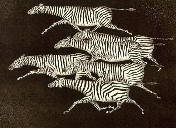 """Mario Avati  Italian  Born 1921  """"Six Running Zebras"""""""