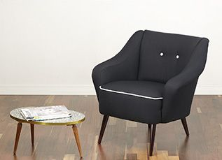 Beautiful cocktail chair, 50s armchair. Lovely design with curved out armrests and tapered and splayed legs. www.viremo.co.uk