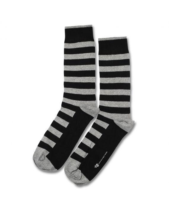 Democratique Socks ORIGINALS STRIPER Black / Light Grey Melange