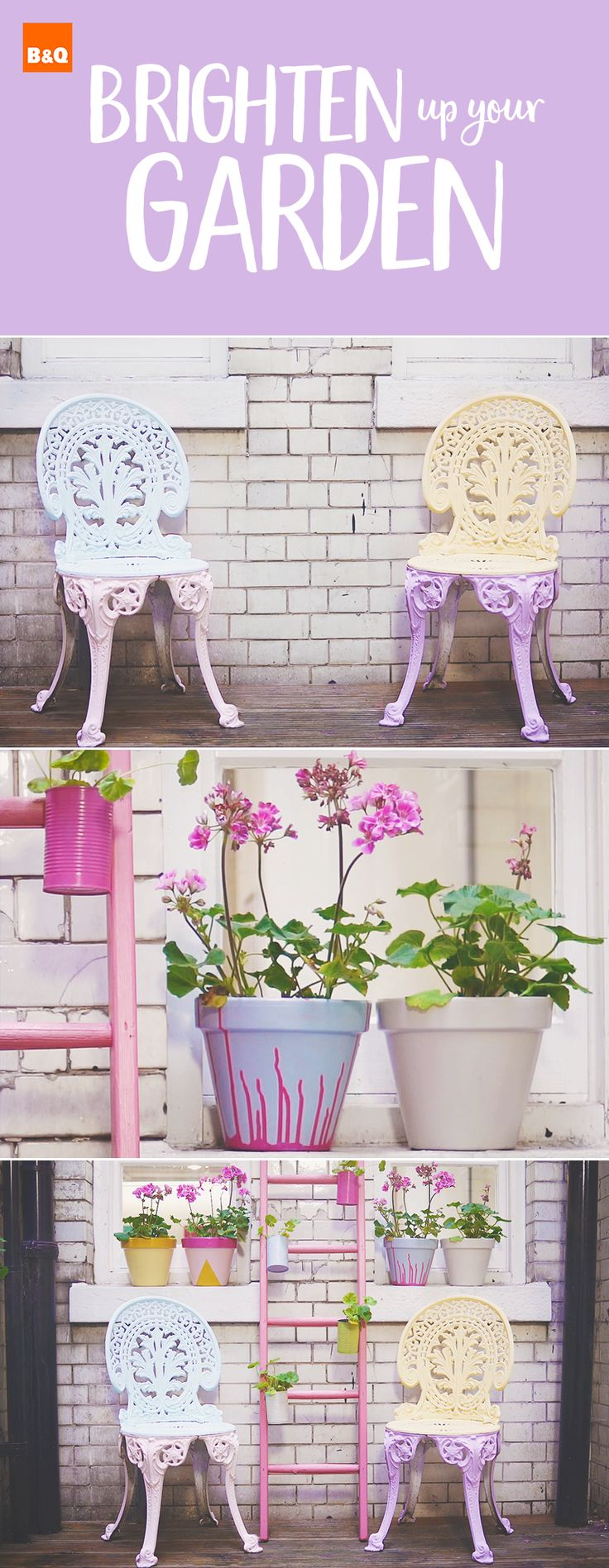 Giving your garden furniture a makeover is ultra quick and easy with Ronseal Garden paint. There is no need for prep or sanding (unless your items are reeaalllyyy battered) and can be used for painting metal, painting wood, painting terracotta and painting brick.