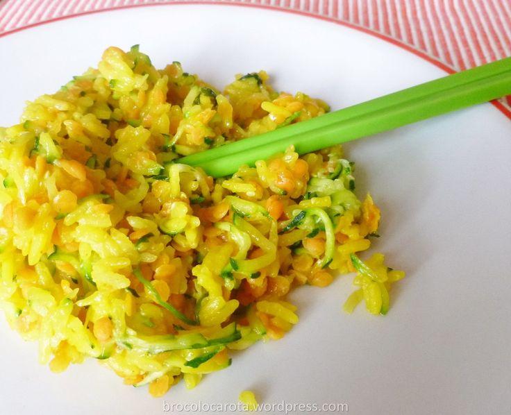 riso Thai con zucchine e lenticchie rosse