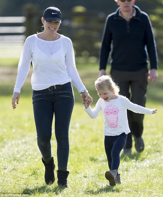 Autumn and her oldest daughter are pictured enjoying a day of show jumping, cross country ...
