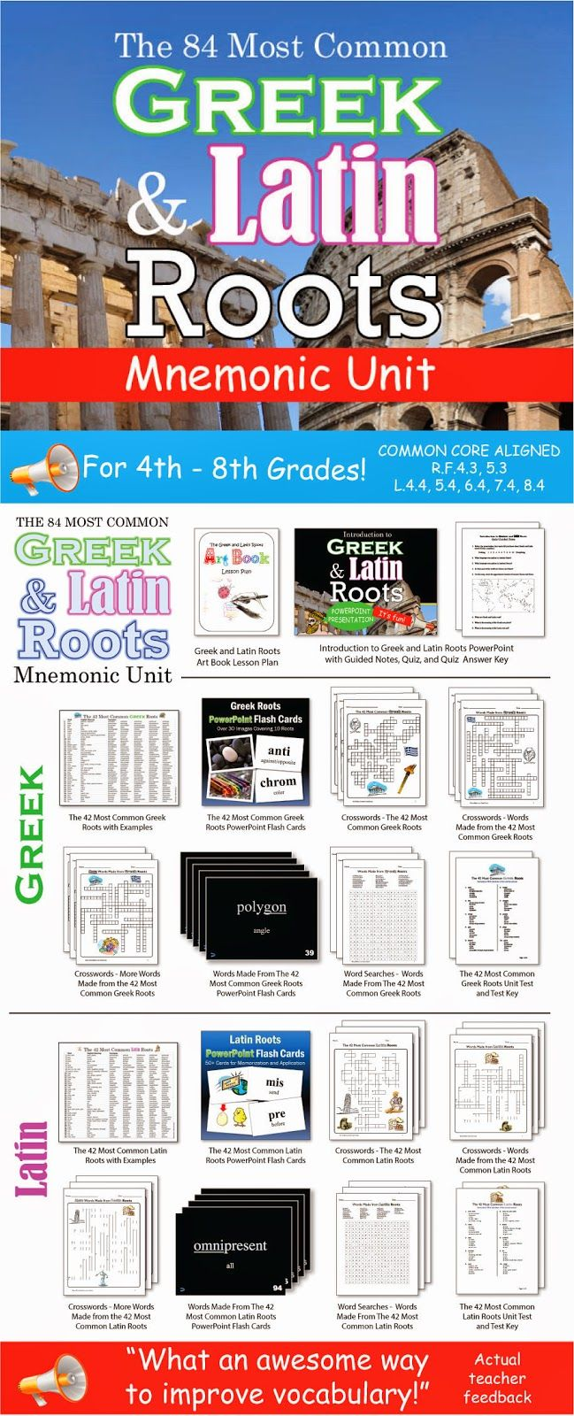 This is a COMPLETE mnemonic unit on eighty-four Greek and Latin roots that are the building blocks of thousands of English words. By the time your students are finished with this unit, they will have memorized the meanings of these eighty-four common Greek and Latin roots. As a result, they will be able to figure out the meaning of thousands of English words. I made it about five years ago for 8th graders. Been using it ever since for a variety of grade levels!