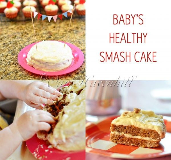 Baby's first healthy smash cake. Turned out pretty tasty and nice to know it was egg-free and quite healthy. My child wasn't interested in doing more than waving it in the air like King Kong but he loved doing that!