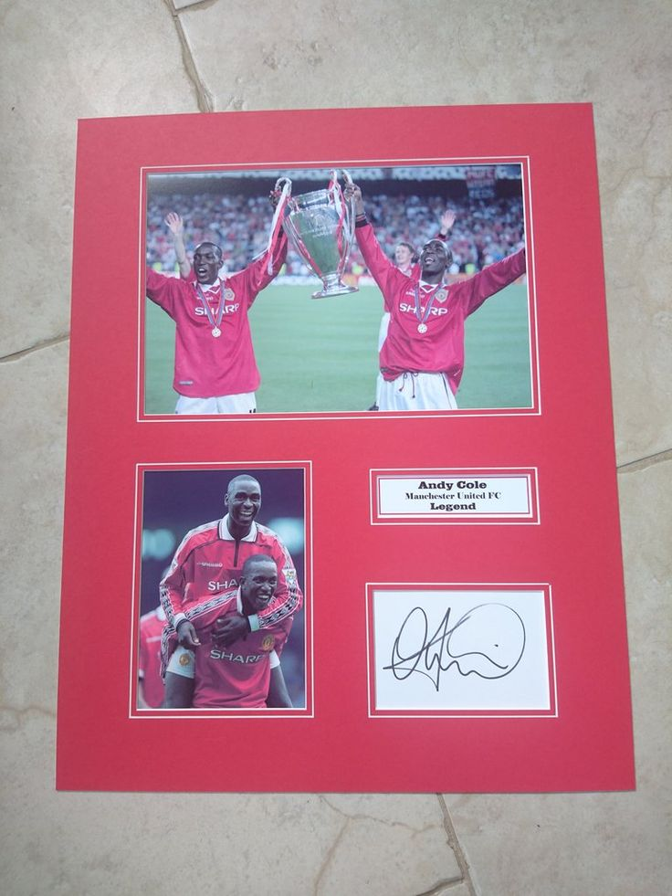 ANDY COLE - MANCHESTER UNITED FC - HUGE SIGNED PHOTO MONTAGE