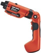 Black & Decker's 6 Volt PivotPlus Rechargeable Drill and Screwdriver is a powerful, compact powertool that  features and ergonomically-shaped body for easy gripping, a handle that locks in three different positions for versatile operating conditions, an integrated LED light for superior visibility in dark areas, and a 23-position clutch that helps prevent stripping. The.6-volt battery offers a long operating life and the quick-release mechanism in the head makes changing bits fast, and easy.