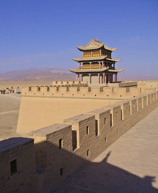 The end of the wall. The fortress at Jiayuguan, the western end of the Ming Dynasty Great Wall.