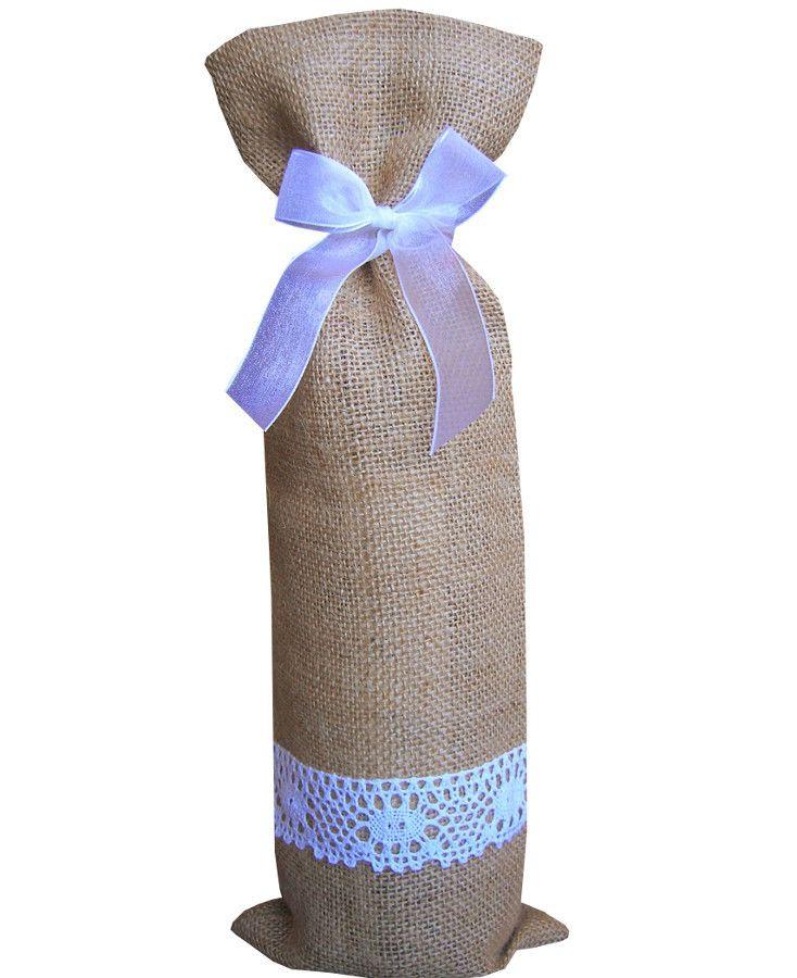 Precioso saco con decoración de encaje blanco 100% algodón para botellas de todos los tamaños