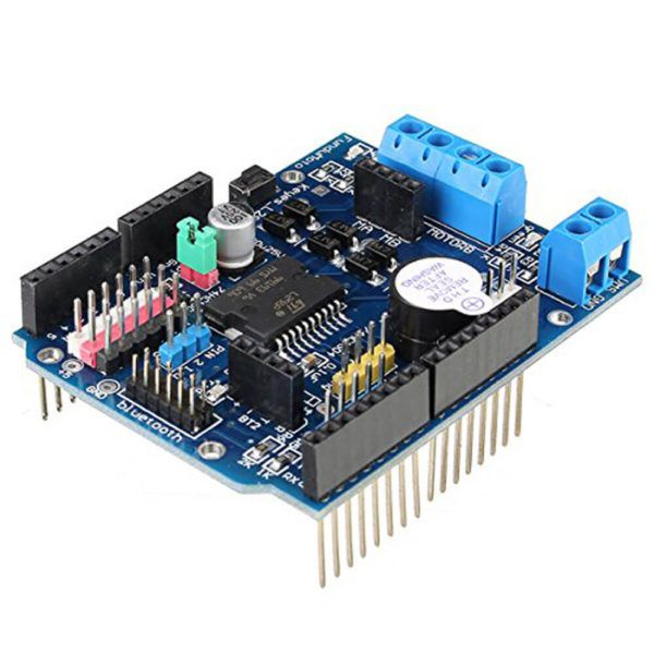 H-bridge Motor Controller L298P. Dedicated motor driver chip to control two DC motors with drive current up to 1.5A (max 2A). Two-way bluetooth interface requires no wiring. Stack design can be plugged directly into microcontroller. Onboard buzzer (D4) so you can set the astern alarm ringtone. Supports PWM / PLL mode motor speed control Indicator for forward/backward direction change. SALE PRICE: $11.95