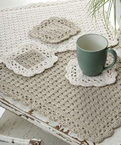 Options Placemat & Coaster Crochet Pattern   Red HeartThis crochet placemat and crochet coaster set can also be created in a variety of neutral, or holiday colors.