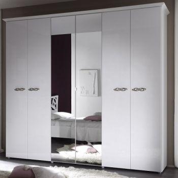 WŁOSKA SZAFA 6- DRZWIOWA Z LUSTREM H214 - AMBROSIA - szafy do sypialni, tanie meble włoskie, nowoczesne meble włoskie, kolekcja ambrosia