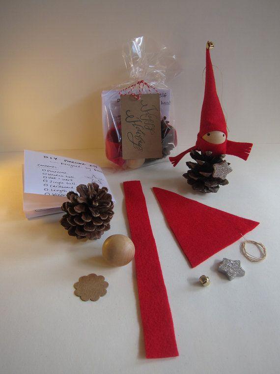 DIY Ornament Pinecone Gnome Kit — Woodland Holiday Decor – Forest Elf – Tabletop Mantel Tree – Stocking Stuffer