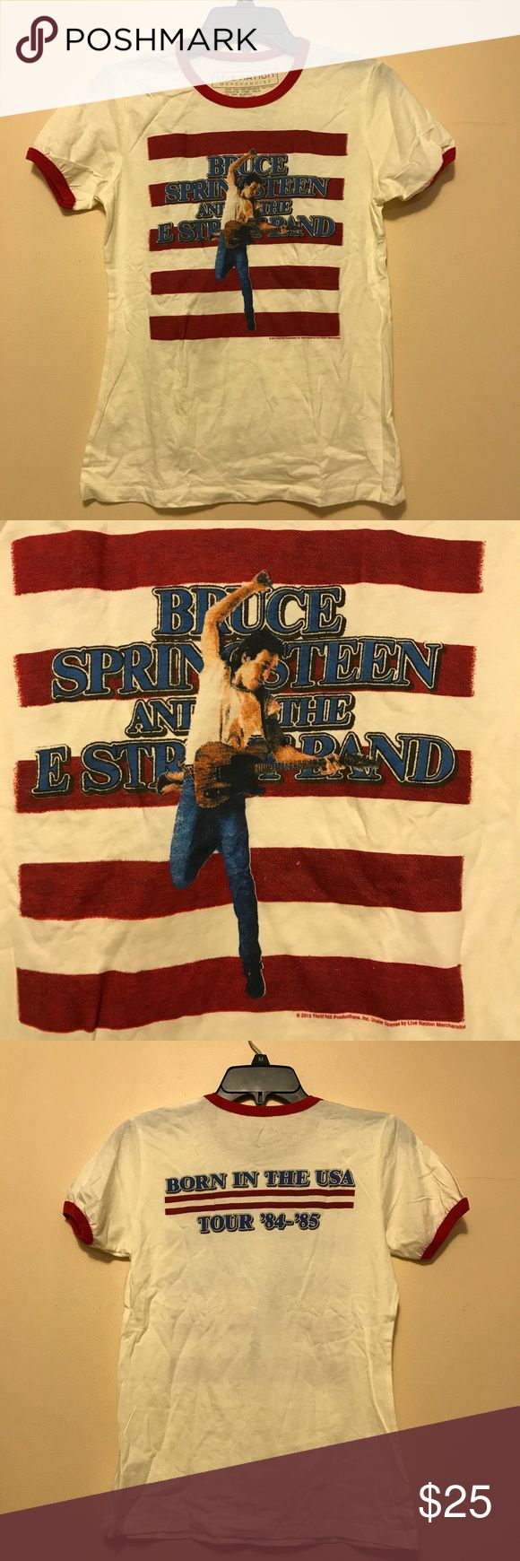Bruce Springsteen tour shirt This Bruce Springsteen born in the USA tour shirt fits perfectly. Lined with red, it pictures bride Springsteen in front of a red striped background. The back of the shirt says the name of the tour and the year live nation merchandise Tops Tees - Short Sleeve