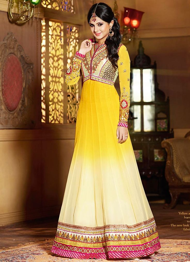 Off White and Yellow Jennifer Winget Georgette Anarkali Suit www.ethnicoutfits.com Email : support@ethnicoutfits.com What's app : +918141377746 Call : +918140714515