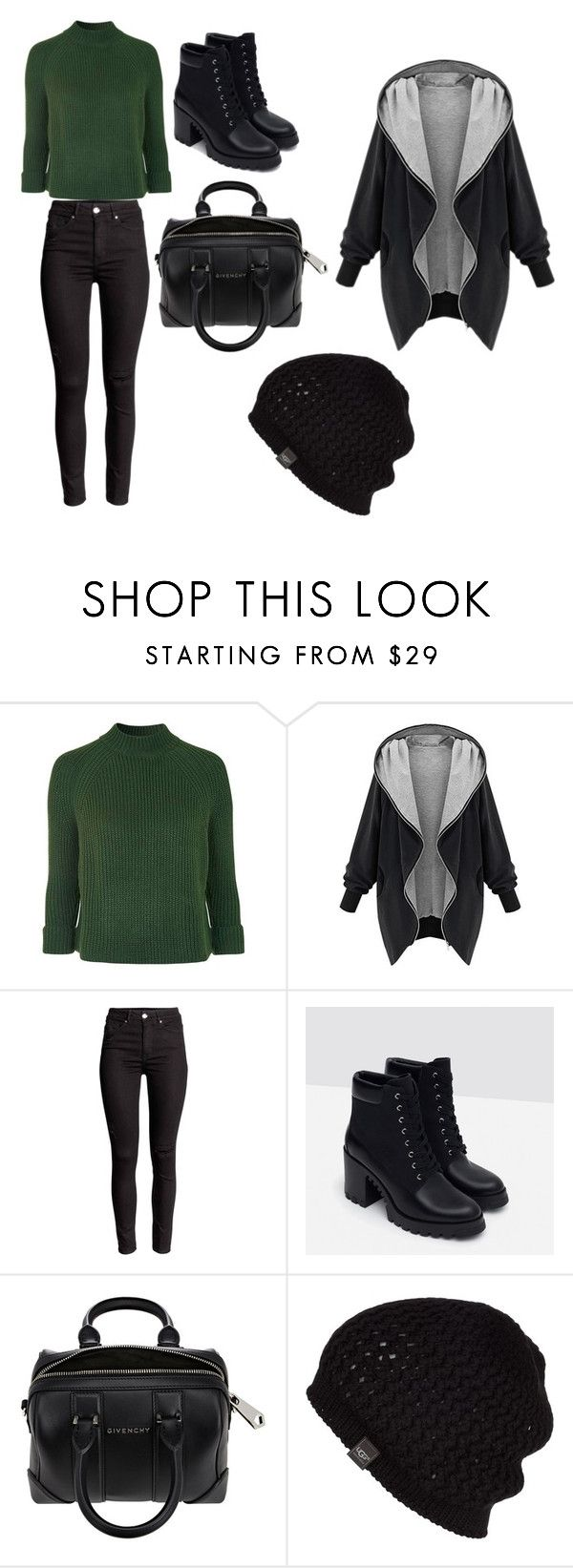 """Winter"" by sydneybushh ❤ liked on Polyvore featuring Topshop, Zara, Givenchy, UGG Australia, women's clothing, women, female, woman, misses and juniors"
