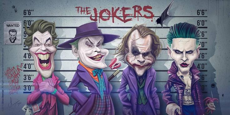 Caricatures de Cesar Romero, Jack Nicholson, Heath Ledger et Jared Leto alias The Joker par Brice Mercier