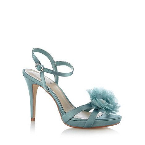 Debut Turquoise satin 3D flower high sandals- at Debenhams Mobile why the flower???