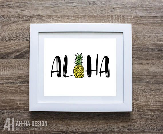 ALOHA PINEAPPLE WALL ART DIGITAL DOWNLOAD:  A fun Aloha print with a cute illustrated pineapple.  ABOUT:  This is a DIGITAL FILE ONLY, you will not receive a printed physical version. HOW IT WORKS:  Once you purchase the listing, you will be able to instantly download the files. Then you can print them on your home computer, have them printed at a local print shop, or have them printed with an online printer.  FILES:  You will receive the following files, which should accommodate a variety…