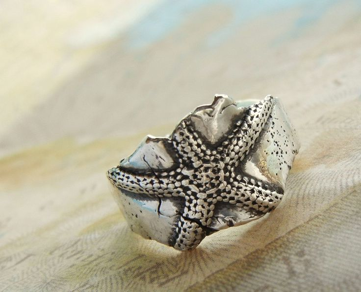 Le stelle marine argento gioielli anello Beach di HappyGoLicky