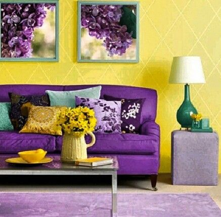 Best 25 purple sofa design ideas on pinterest purple - Living room yellow wall ...