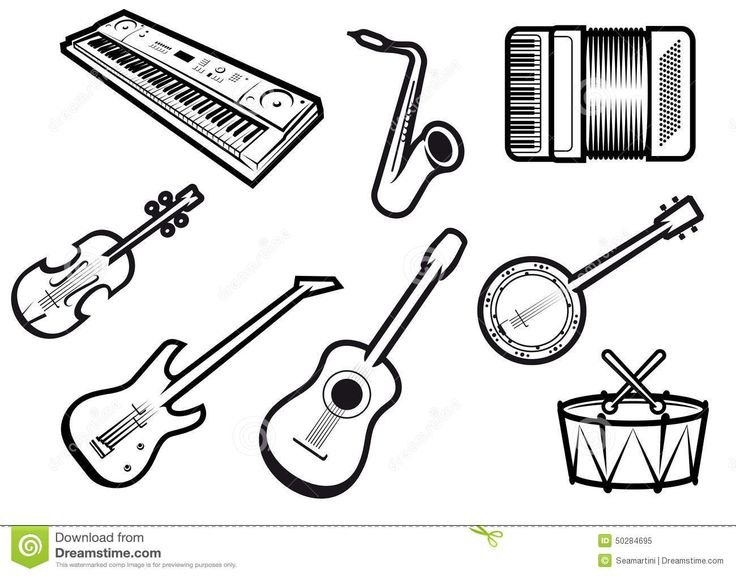 acoustic-electric-musical-instruments-outline-sketch-guitars-violin-saxophone-synthesizer-drum-banjo-accordion-50284695.jpg (1300×1019)