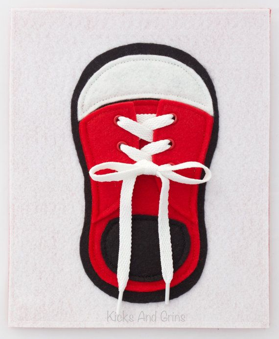"""Help your little love learn to tie their shoes! This shoe has liftable flaps, eyelets and a real shoe lace for little ones to learn how to tie. Want to customize the shoe? Send me conversation and we can discuss details.  The page measures approximately 8.5""""x7"""" and is backed with felt (color may vary from the one pictured). It has 2 holes punched on the left-hand side for binding with either ribbon or rings.  This quiet book page is made primarily from Peltex and felt. Peltex is stiff and…"""