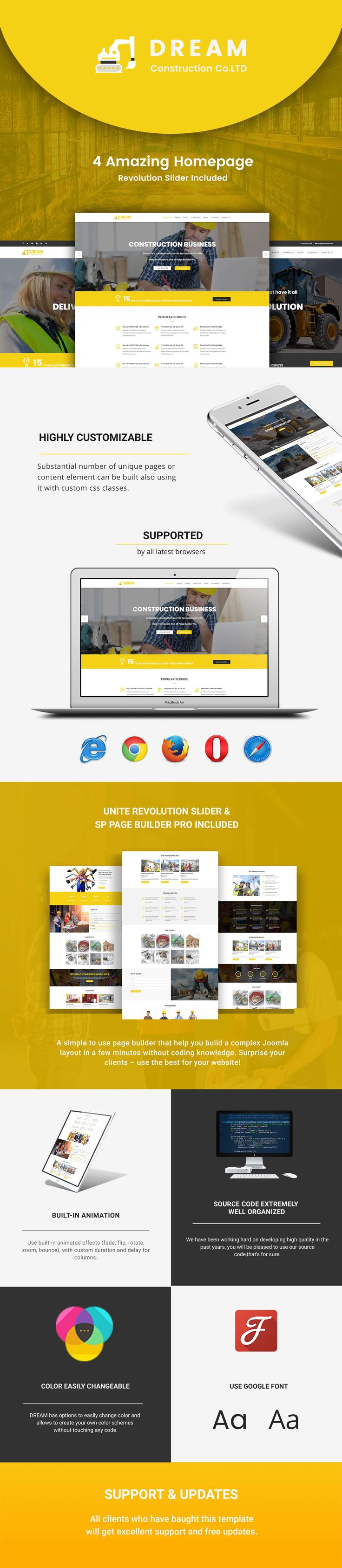 <p><strong>Dream - Construction / Business / Agency Joomla Template</strong> is designed specially for Construction, Business, Agency and Small Business. Dream template has lots of features be...