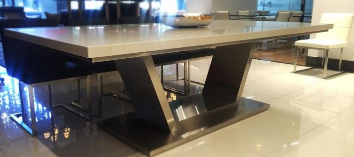 Venus Caesarstone Dining Table in London Grey. Complete this look with the Caesarstone console and coffee table, see http://www.gainsville.com.au/collections for more information, or visit one of our Melbourne Showrooms today