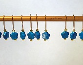 Set of 10 Blue Flower Knitting Stitch Markers
