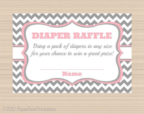 Diaper Raffle Tickets, Grey and Pink | Raffle Tickets, Diaper Raffle ...